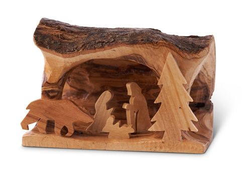 E05s Bear Small Grotto Carved In Branch With Bear 3 Quot X5 Quot