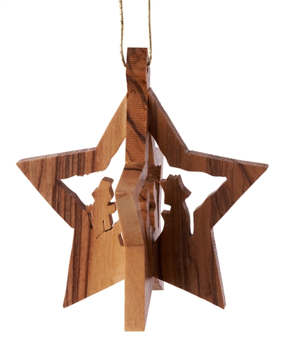 hand-crafted olive wood Christmas ornament made in Bethlehem Larger Photo Email A Friend
