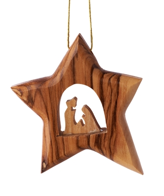 C26HF - Thick star ornament modern with holy family - 3.5""