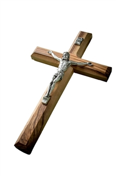 CC19C - Olive Wood Plain Crucifix - 8""
