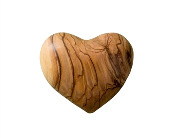 hand-crafted olive wood heart made in Bethlehem