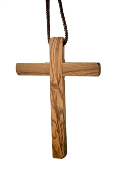 hand-crafted olive wood cross made in Bethlehem