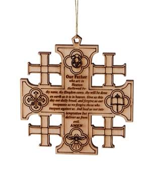 "CC30 - Jerusalem cross with Lord's prayer - 3""X3"""