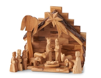 CR06-NS02 - Mini Stable with hard cut nativity figures