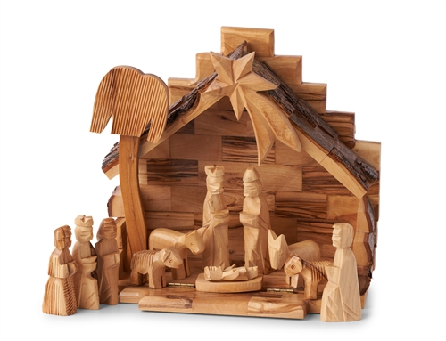 Cr06 Ns02 Mini Stable With Hard Cut Nativity Figures