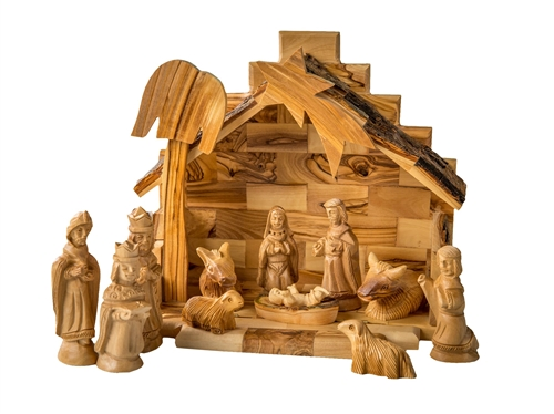 Hand Crafted Olive Wood Nativity Set Made In Bethlehem