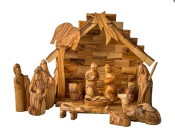 hand-crafted olive wood nativity set made in Bethlehem
