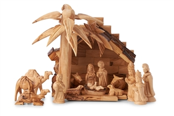 CR06B-NS06-CM07 - Mini Olive Wood Stable with 3D Palm Tree and Nativity set with Traditional Figures and 3 Camels