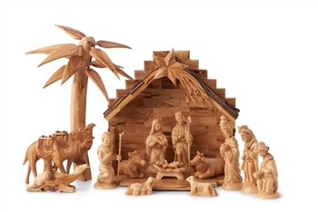 CR12B/NS12/CM12 - Complete nativity set with 3D palm tree creche and set of 3 camels