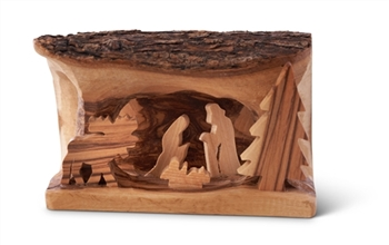 "E05s Moose - Small Grotto carved in Branch with Moose - 3""x5"""
