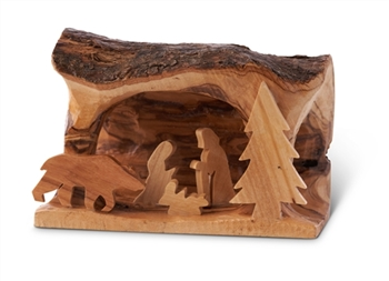 "E05s Bear  - Small Grotto carved in Branch with Bear - 3""x5"""