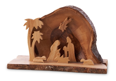 "E08B - Arched grotto with holy family under star with two palms - 2.5""x4"""