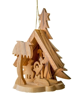 hand-crafted olive wood grotto made in Bethlehem