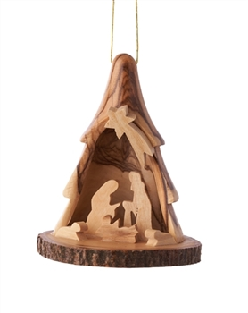 E21B - 3D Tree ornament with nativity and bark base - 3.5""
