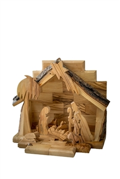 hand-crafted olive wood nativity made in Bethlehem