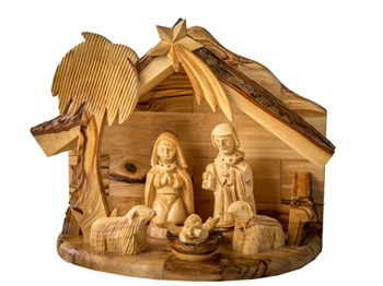 "E29 - One Piece Nativity set with holy family and sheep - 6""x7""x4"""