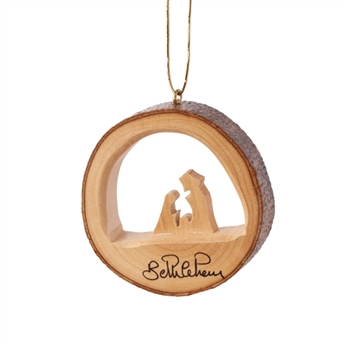 E31 - Round bark ornament with holy family - 2""
