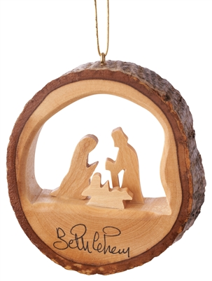 E32 - Round bark ornament with holy family - 3""