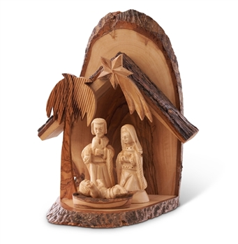 E34 - Bark Grotto with carved holy family - 5 pc - 7""