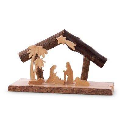 "E35 - Grotto with bark branches and laser cut holy family - 3.75"" tall"