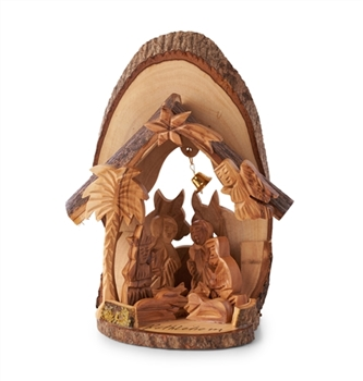 E36 - Bark grotto with cow and donkey - 6""