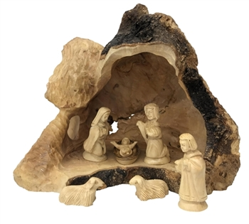 "E38 - Large Cave Grotto from the root - includes 7 pc nativity figures - 8 to 10"" - figures 4"""