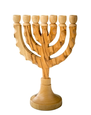 hand-crafted olive wood menorah made in Bethlehem