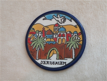 MS46 - Ceramic Christmas Ornament, Coaster, or Spoon Rest - Jerusalem - 3.5""