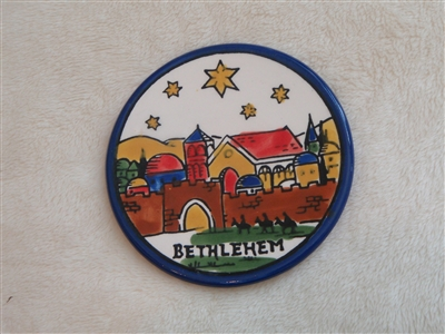 MS47 - Ceramic Chistmas Ornament, Coaster or Spoon Rest - Bethlehem - 3.5""