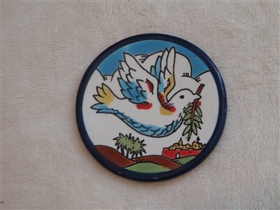 MS51 - Ceramic Christmas Ornament, Coaster or Spoon Rest - Dove with Olive Branch - 3.5""
