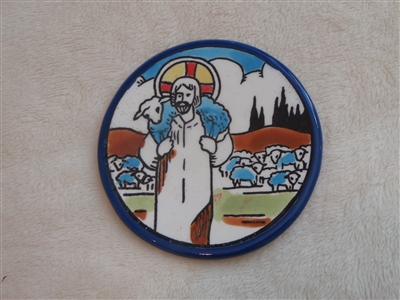 MS53 - Ceramic Christmas Ornament, Coaster or Spoon Rest - Jesus Carrying Lamb - 3.5""