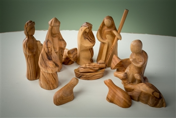hand-carved olive wood nativity set made in Bethlehem