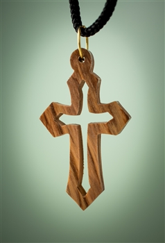 hand-crafted olive wood pendant made in Bethlehem