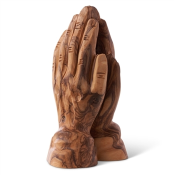 hand-crafted olive wood praying hands made in Bethlehem