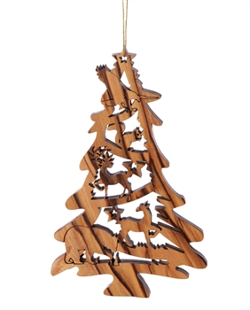 W-45 | Laser Cut Tree Shaped Ornament with Bear