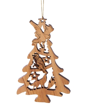 W-46 | Laser Cut Tree-Shaped Ornament with Owl
